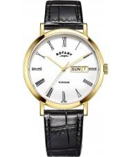 Rotary GS05303-01 Herren-Uhren windsor vergoldet schwarz Lederband Uhr
