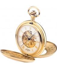 Rotary MP00713-01 Mens mechanisches Skelett goldene Taschenuhr plattiert