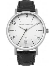 French Connection FC1268B Mens schwarzes Lederband Uhr