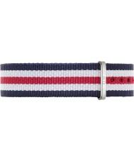 Daniel Wellington DW00200051 Damen klassische canterbury 36mm silber, weiß, blau und rot Nylon Ersatzband