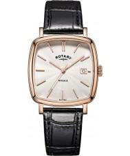 Rotary GS05309-01 Herren-Uhren windsor Rotgold schwarzes Lederarmband Uhr plattiert