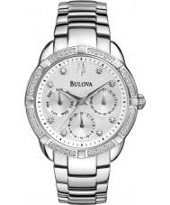 Bulova 96R195 Damen Diamant-Silber-Stahlarmband Chronograph