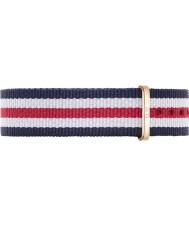 Daniel Wellington DW00200030 Damen klassische canterbury 36mm Roségold, weiß, blau und rot Nylon Ersatzband