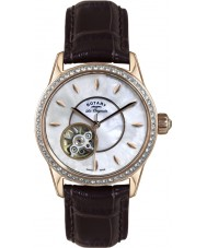 Rotary LS90515-41 Damen les originales jura automatische braunes Lederarmband Uhr