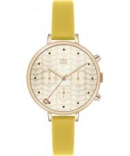 Orla Kiely OK2038 Damen Efeu Gold Chronograph gelb Lederband Uhr