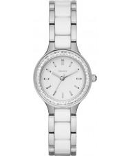 DKNY NY2494 Damen Kammern weiße Keramik-Links Stahl-Uhr