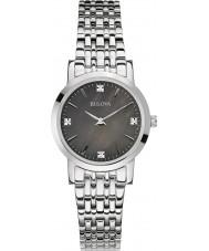 Bulova 96S148 Damen Diamant Galerie Silber Stahl Armbanduhr