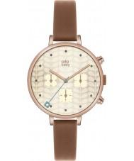 Orla Kiely OK2040 Damen Efeu Chronograph tan Lederband Uhr