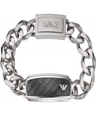 Emporio Armani EGS1688040 Mens Unterschrift Kohlefaser Silber Stahl-ID-Armband
