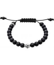 Thomas Sabo A1118-172-11-L Schwarzes Obsidian Perlen Armband mit silbernen Schädel