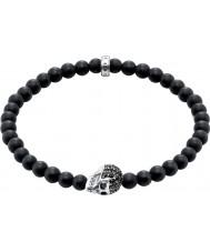 Thomas Sabo A1270-159-11-L19 Mens Obsidian Armband mit schwarzem Zirkonia Schädel