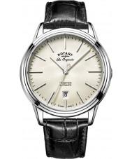 Rotary GS90161-32 Mens les originales Tradition Automatik Stahl schwarzes Lederband Uhr