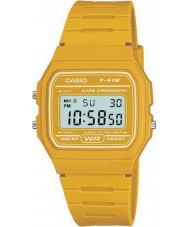 Casio F-91WC-9AEF Mens Retro Sammlung gelb Chronograph