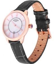 Rotary LS02919-41 Damen Uhren elise schwarzes Lederband Uhr