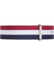 Daniel Wellington DW00200017 Mens klassische cambridge 40mm silber blau weiß und rot Nylon Ersatzband