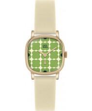 Orla Kiely OK2052 Damen cecelia grün blumig Creme Lederband Uhr