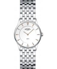 Rotary LB08200-02 Damen ultra dünne weiße Stahl Uhr
