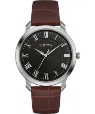 Bulova 96A184 Mens Kleid braunes Lederarmband Uhr
