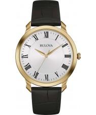 Bulova 97A123 Mens Kleid schwarzes Lederband Uhr
