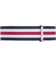 Daniel Wellington DW00200016 Mens klassische canterbury 40mm silber blau weiß und rot Nylon Ersatzband