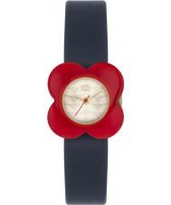 Orla Kiely OK2062 Damen mohnrot Blumenkasten Marine Lederband Uhr