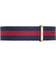 Daniel Wellington DW00200001 Mens klassische 40mm Oxford Roségold blau und rot Nylon Ersatzband