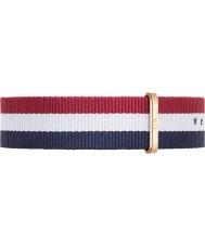 Daniel Wellington DW00200003 Mens klassische 40mm cambridge Rotgold blau weiß und rot Nylon Ersatzband