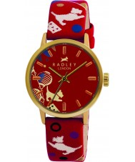 Radley RY2000 Damen-Zirkus gedruckt roten Lederband Uhr