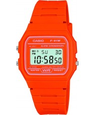 Casio F-91WC-4A2EF Mens Retro Sammlung Orange Chronograph