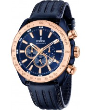 Festina F16897-1 Mens Prestige blaues Leder Chronograph
