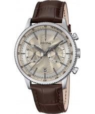 Festina F16893-7 Mens Retro braunes Leder Chronograph