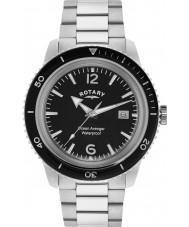 Rotary GB02694-04 Herren-Uhren Ozean Avenger schwarz silber steel watch