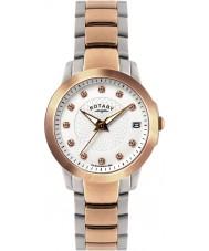 Rotary LB02837-41 Damen Uhren Stein gemeißelt Ton zwei Stahl-Uhr