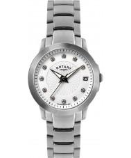 Rotary LB02836-07 Damen Timepieces gesetzt Stein Stahl-Uhr