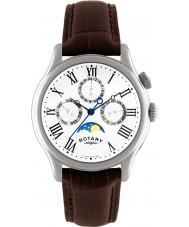 Rotary GS02838-01 Herren-Uhren mit Mondphase braunes Lederarmband Uhr