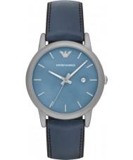 Emporio Armani AR1972 Herren klassische blaue Leder und Silikon-Armband-Uhr