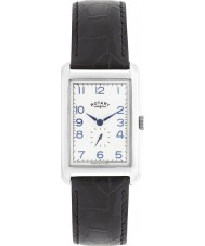 Rotary GS02697-21 Herren-Uhren Portland-Silber-Armband aus schwarzem Leder Uhr