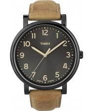 Timex T2N677 Mens schwarz tan klassische runde Uhr