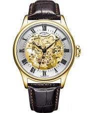 Rotary GS02941-03 Herren-Uhren vergoldet braun Skelett mechanische Uhr
