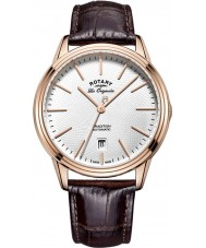 Rotary GS90164-02 Mens les originales Tradition automatische Roségold braunes Lederarmband Uhr plattiert