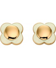 Orla Kiely E5160 Damen dasiy Kette 18-karätigem Gold Creme Blumenohrstecker