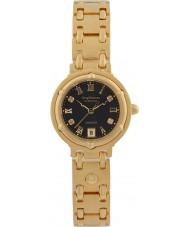 Krug-Baumen 5118DL Charleston 4 Diamant-schwarzes Zifferblatt Gold Band