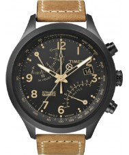 Timex T2N700 Mens schwarz tan Flyback-Chronograph