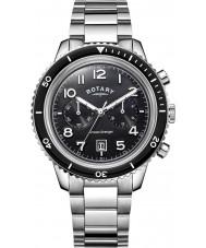 Rotary GB05021-04 Herren-Uhren Ozean Avenger Chrono schwarz Stahl-Uhr