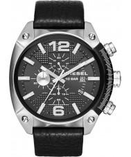 Diesel DZ4341 Mens Überlauf Chronograph schwarzes Lederband Uhr
