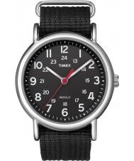 Timex T2N647 Mens alle schwarz Weekender durch Uhr rutschen
