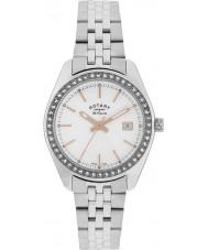 Rotary LB90110-21 Damen les originales lausanne Stein Silber Stahl-Uhr eingestellt