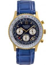 Krug-Baumen 400207DS Air Reisenden Diamant blaues Zifferblatt blau Gurt