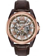 Bulova 98A165 Mens automatische braunes Lederband Uhr