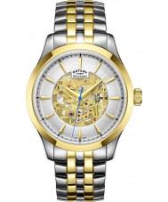 Rotary GB05033-06 Mens Champagner Gold mit zwei Tönen überzog Skeleton mechanischen Uhr
